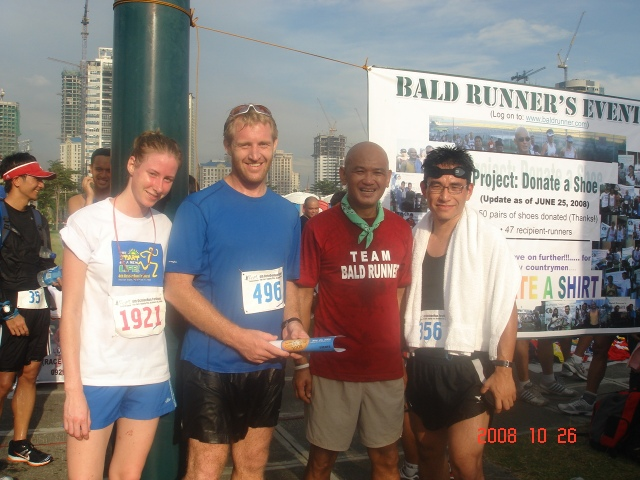 "Philip aka Foreign Runner; Tomi; & Rayyoshi aka ""The Bold Runner"" who came from Guam to run the 10K Race"