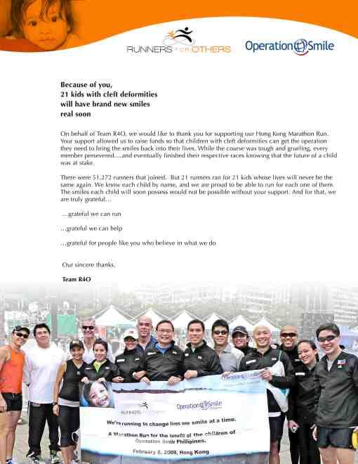Letter Of Thanks & R4O Members Who Finished 2009 SC Hongkong Marathon