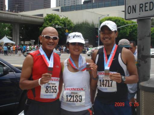 """Team Bald Runner-Los Angeles Group"" Members With Their Finisher's Medal"
