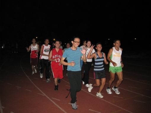 Coach Titus Led The Group To a 4-Lap Warm-Up Jog