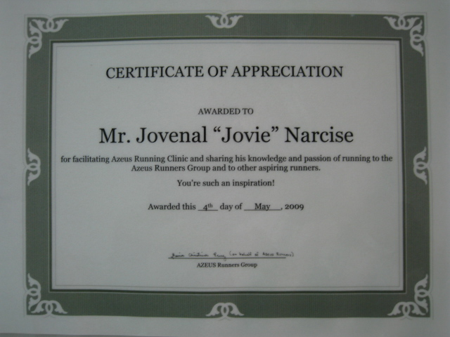 Very Nice Laminated Certificate of Appreciation