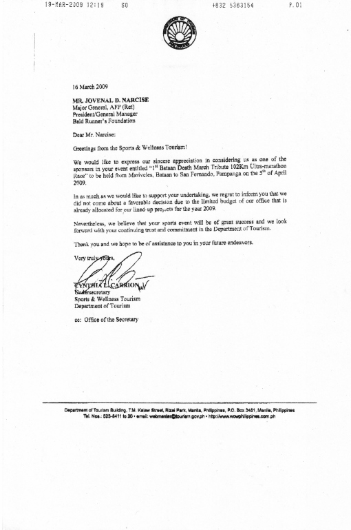 Department of Tourism's Letter of Response
