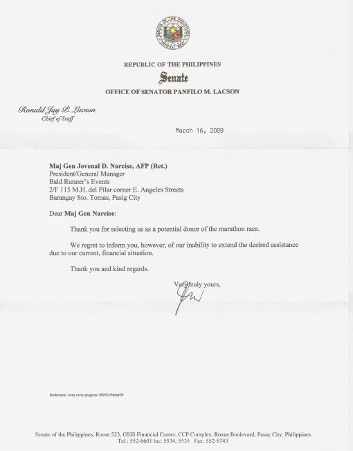Senator Panfilo Lacson's Letter of Response