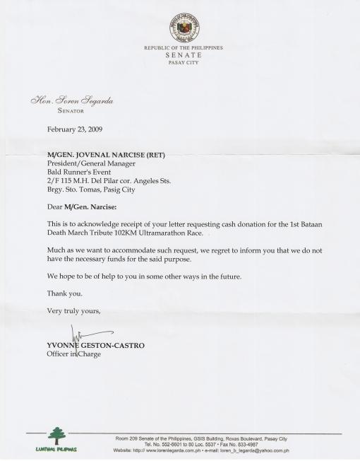 Letter From Senator Loren Legarda