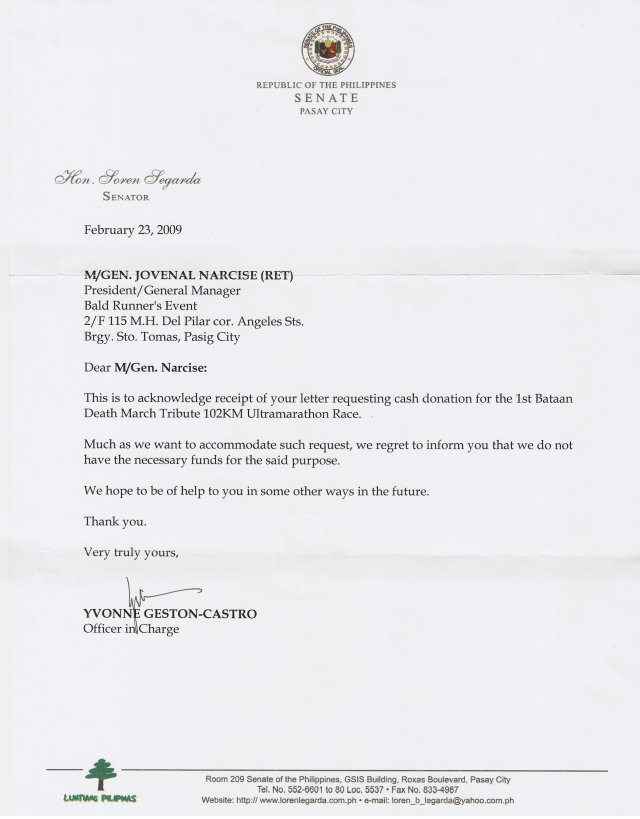 Letter From Senator Loren Legarda