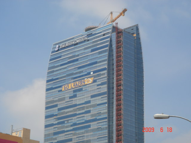 """Go Lakers"" at The Ritz-Carlton Hotel (Under Construction)"