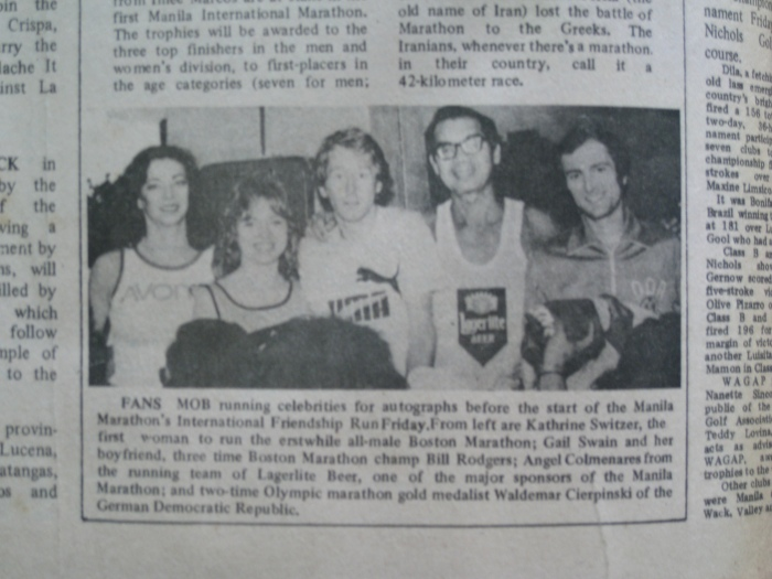 (Fm Left to Right) Katherine Switzer, Gail Swain, Bill Rodgers, Angel Colmenares, & Waldemar Cierpinski