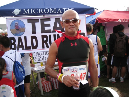 At The Team Bald Runner Booth (Note: BR's Logo)