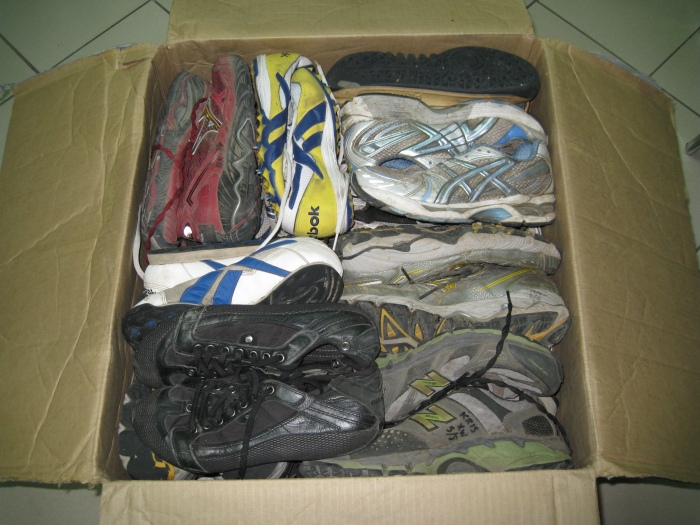 Filled With Neatly-Packed 34 Pairs of Running Shoes
