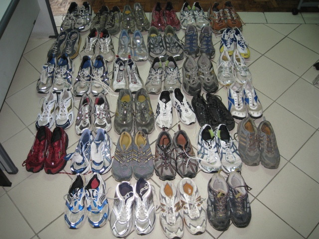 34 Pairs of Running Shoes Displayed On The Floor