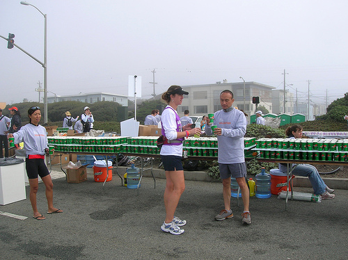 Another View of a Water Station in a Marathon Race (Courtesy of Rick Gaston)
