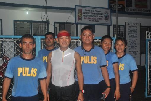 A Pose Infront Of The San Juan Police Headquarters (PO1 Emperado, PO1 Cordova, P/Inspector Dumaguing, PO1 Caulawon, PO1 Suan)