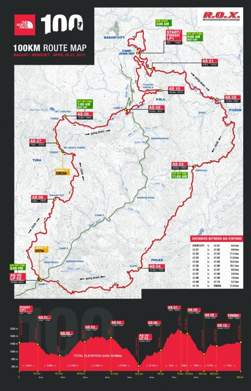 TNF Phil 100 Route Map