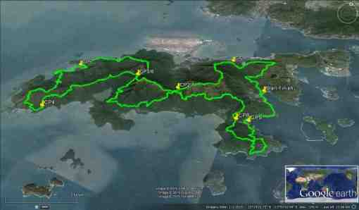 Google Map Of Lantau Island & Race Route
