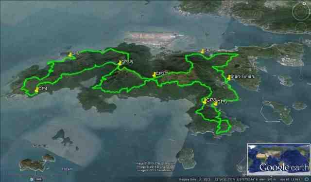 Google Map Of Lantau Island & Race Route