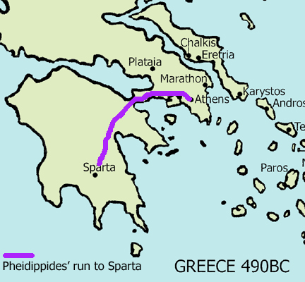 Deaths In Running Events Bald Runner - Map of the distance between athens sparta and the us
