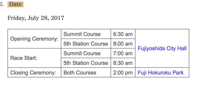 Mt Fuji Mountain Race Schedule